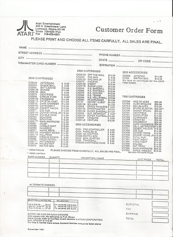 Atari customer order form 1987