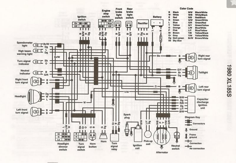 servicemanuals the junk man\u0027s adventures 1990 Honda 300 Wiring Diagram honda xl185 wiring diagram