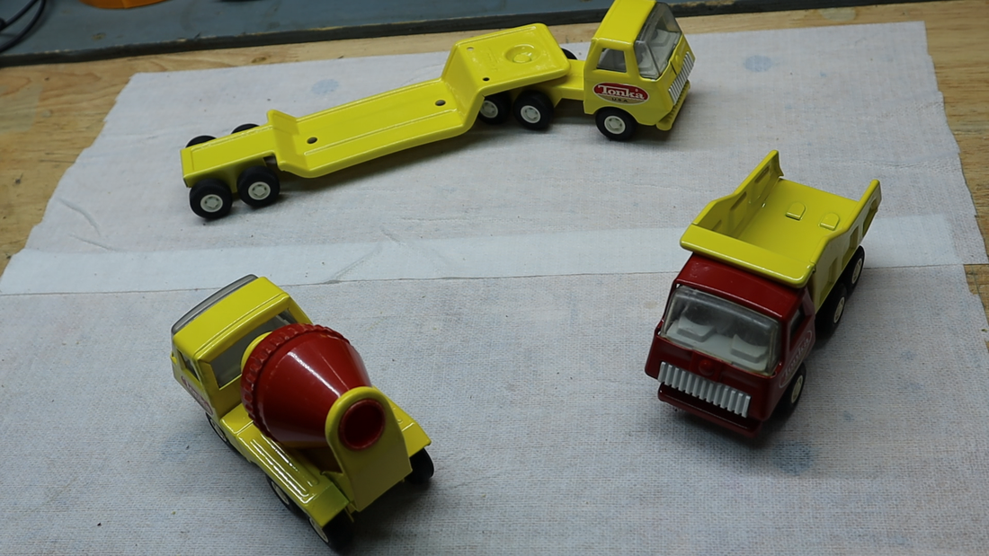 red yellow tonka dump truck
